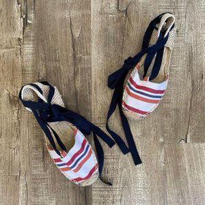 Soludos Lauren Wrap Espadrille Flat Red Stripe 6